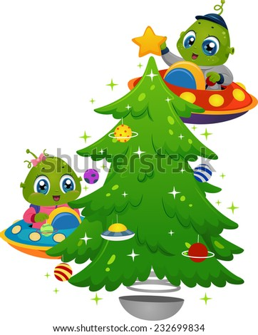 Illustration Featuring Little Aliens Decorating a Christmas Tree - stock vector