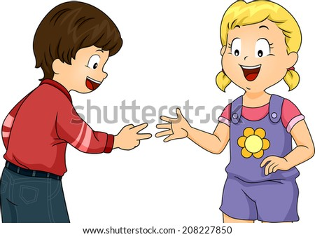 Illustration Featuring Little Kids Playing Rock, Paper, Scissors - stock vector