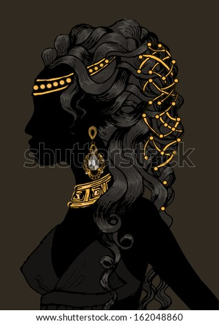 Illustration Featuring the Silhouette of a Woman Wearing Various Accessories - stock vector