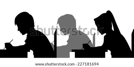 Illustration Featuring the Silhouettes of Students Taking an Exam - stock vector