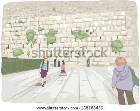 Illustration Featuring Tourists Roaming Around the Wailing Wall in Israel - stock vector