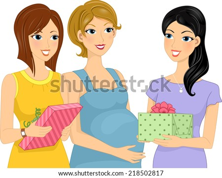 Illustration Featuring Women Presenting Gifts to Their Pregnant Friend