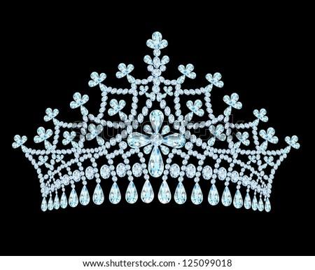 illustration feminine wedding tiara crown with tassels - stock vector