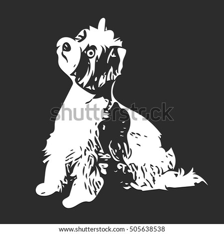 Illustration Figure White Dog on a Gray Background