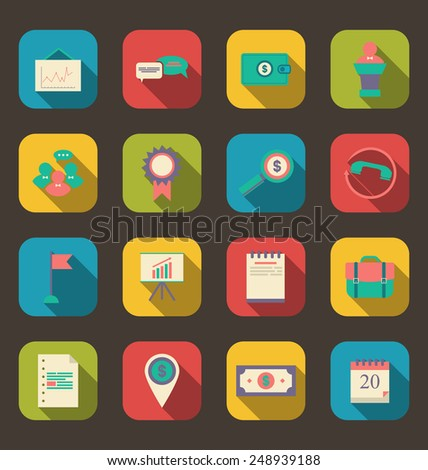 Illustration flat icons of business, office and marketing items, long shadow style - vector