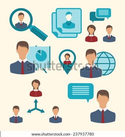 Illustration flat icons of business people showing presentation online meetings discussion teamwork analysis and graphs - vector - stock vector