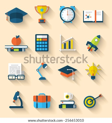 Illustration flat icons of elements and objects for high school and college education with teaching and learning, long shadow style design - vector - stock vector