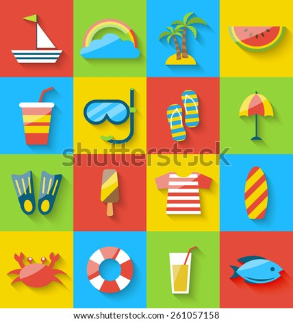 Illustration flat icons of holiday journey, summer symbols, sea leisure, colorful minimalist icons with long shadow - vector - stock vector
