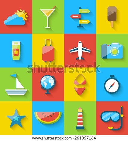 Illustration flat modern design set icons of travel on holiday journey, tourism objects and equipment, long shadow style - vector - stock vector