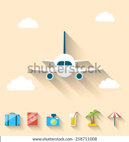 Illustration flat set icons of planning summer vacation, simple style with long shadow - vector - stock vector