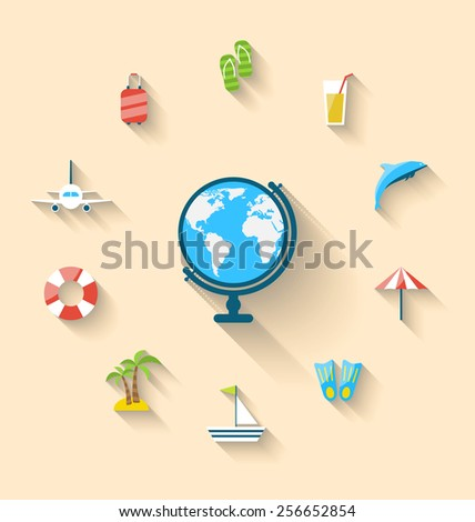 Illustration flat set icons tourism objects and equipment with globe, long shadow style - vector - stock vector