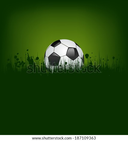 Illustration football card with ball in grass - vector