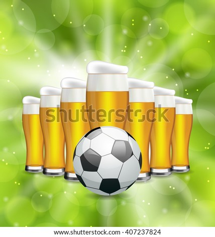 Illustration Football Poster with Glasses of Beer and Soccer Ball. Glowing Sport Background - Vector - stock vector