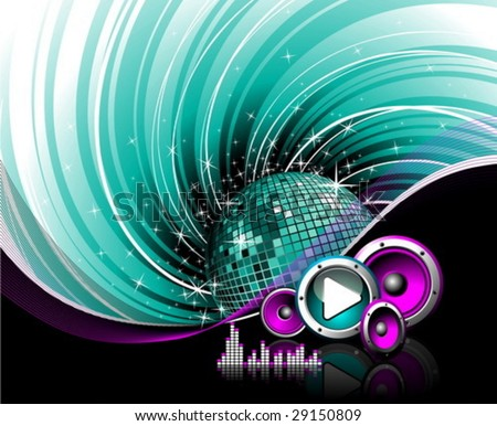 Illustration for a musical theme with speakers, disco-ball and play button on grunge background.