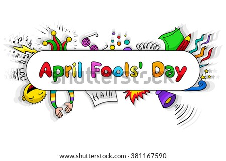 Illustration for April Fools Day - holiday of jokes. Cartoon lettering and elements. - stock vector