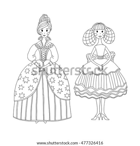 Illustration For Coloring Book Vector Cartoon Princess In A Long Smart Dress And Ballerina