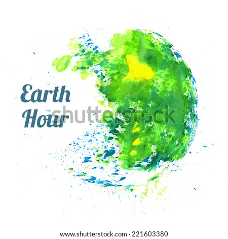 Illustration for Earth Hour annual international event, held in the last Saturday of March - stock vector