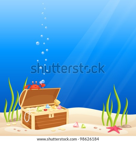 illustration for kids - a cute crab making bubbles on the occasion of discovering a treasure chest with gold and jewels - stock vector