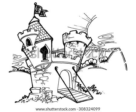 illustration for kids cartoon castle funny simple drawing - Simple Cartoon Drawings For Kids