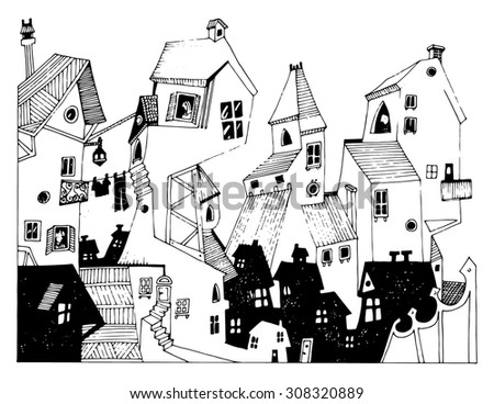 illustration for kids cartoon houses small city funny simple drawing