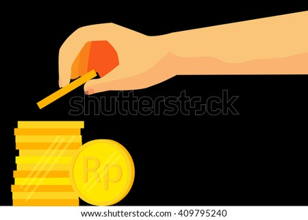 illustration for man invest his money (blank silver coin)  - stock vector