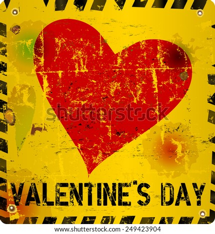 illustration for valentine's day, grungy style, vector format - stock vector