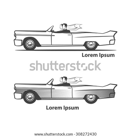 illustration for wedding invitation design, couple in a retro car, profile view - stock vector