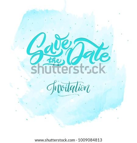 Illustration Wedding Invitation Emerald Letters Watercolor Stock