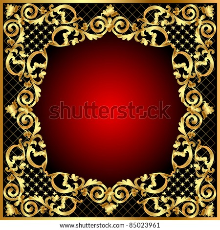 illustration frame background with gold vegetable pattern - stock vector