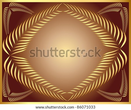 illustration frame from gold ear on background cacao - stock vector