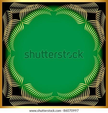 illustration frame from gold ear on background green - stock vector