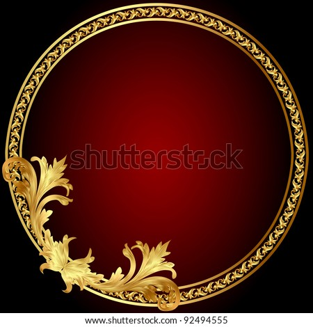 illustration frame with gold(en) pattern on circle - stock vector