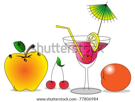 illustration fruits and alcoholic cocktail are insulated - stock vector