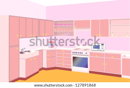 illustration furniture on kitchen by set modern - stock vector