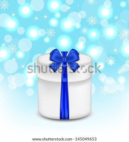 Illustration gift box with blue bow on glowing background - vector