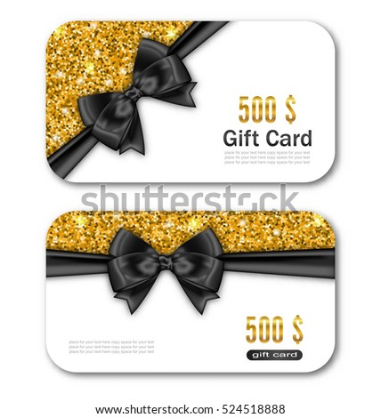 Illustration Gift Card Template with Golden Dust Texture and Black Bow Ribbon. Gift Voucher, Coupon, Invitation, Certificate, Diploma, Ticket Etc. - Vector