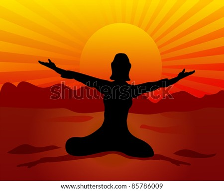 illustration girl sits on background of the sundown,stretching hands to sun