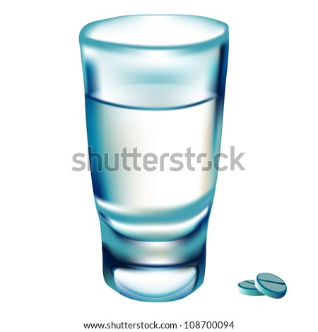 illustration glass water and tablet on white