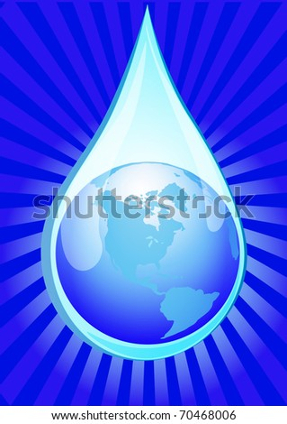 illustration globe in drop of water with glow - stock vector