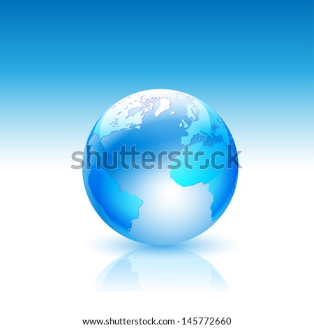 Illustration Globe on a Blue Background. Vector.