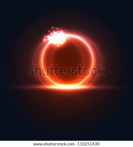 Illustration glowing frame with light effects, hi-tech background - vector - stock vector