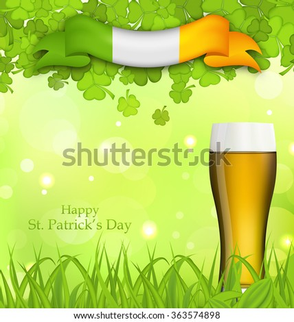 Illustration glowing nature background with glass of beer, clovers, grass and Irish flag for St. Patrick's Day - vector - stock vector