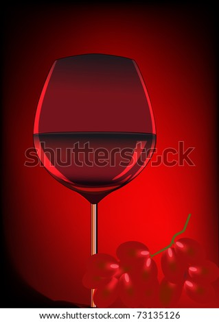 illustration goblet blame and branch of grape - stock vector
