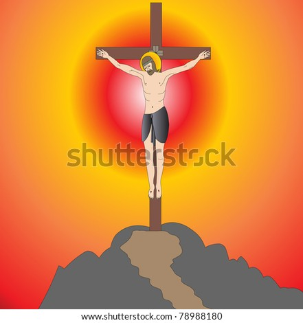 illustration god on cross on background of the sundown - stock vector