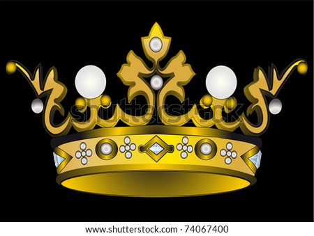 illustration gold(en) royal crown with pearl - stock vector