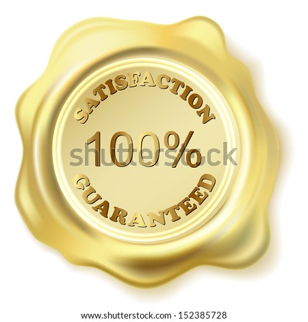 Illustration golden seal wax isolated on white background. Vector eps10.  - stock vector