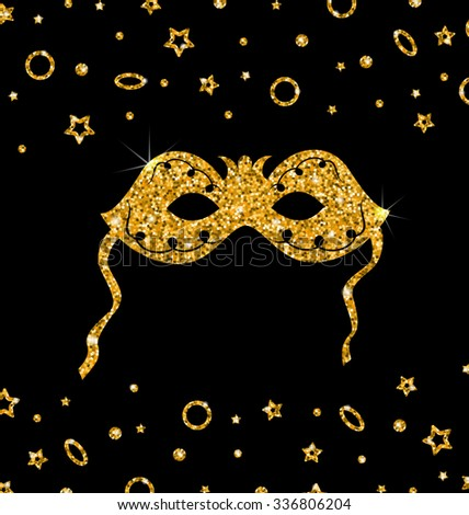 Illustration Golden Shimmering Carnival Mask with Tinsel on Dark Background - Vector - stock vector