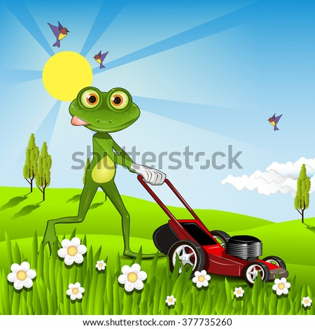 Illustration green frog with a lawn mower - stock vector