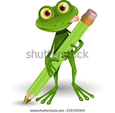Illustration Green Frog with Green Pencil - stock vector