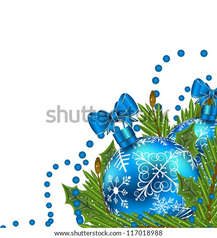 Illustration greeting card with Christmas balls - vector